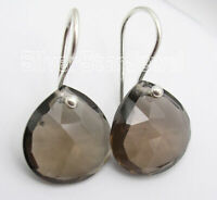 "Heart Shaped BROWN Cut SMOKY QUARTZ Dangle Earrings 1"" 3.7 gms 925 Solid Silver"