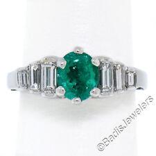 14k ORO BLANCO 1.33ctw COLOMBIA Emerald Solitario & Diamante Baguette Step