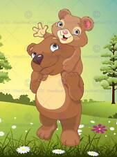 NURSERY TEDDY BEARS PIGGY BACK CARRY FOREST GREEN KIDS BEDROOM  POSTER MP4336B