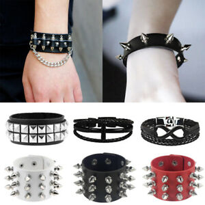 Punk Rivet Leather Cross Gothic Bracelet Women Men Wristband Bangle Jewelry Gift