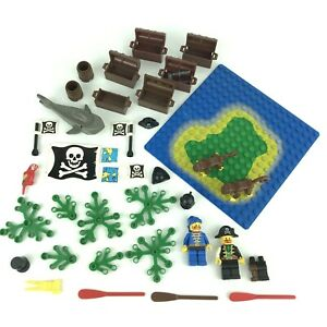 Lego Lot of Pirate Minifigures, Accessories, Chests, Flags, Shark + 2 Monkeys