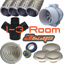 3 Room 200Mm Turbo Fan Heat Transfer Kit - Inline Fan Turbo Kit-Air Transfer Kit
