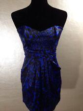 Wishes Womens Dress Size 7 Blue Strapless Empire Waist Stretch Cocktail Evening
