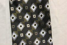 Kilburne and Finch Dress Neck tie 100% silk black, silver, light blue, white