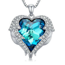 Silver Angel Wings Heart Crystal Pendant Necklace Made With Swarovski Crystals