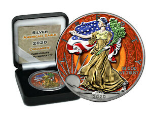1 oz Silber USA Eagle 2020 color Ornament Edition Neu