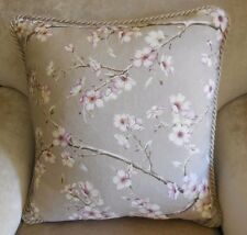 "PAIR NEW CHERRY BLOSSOM Lge Sq 50cm 20"" Taupe Mauve Cushion covers & Rope Trim"