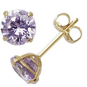 9ct Gold June Birthstone Stud Earrings Purple Alexandrite Coloured Jewellery