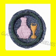 GLASS 1947 ONLY NEW Girl Scout Silver Grn Intermediate Badge Patch RARE Combine