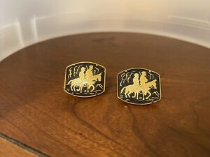 Vintage Damascene Horse Riders Black Gold Cufflinks MINT