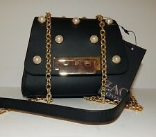 New Zac Posen Eartha Black Leather Gold Chain Pearl Mini Crossbody Bag