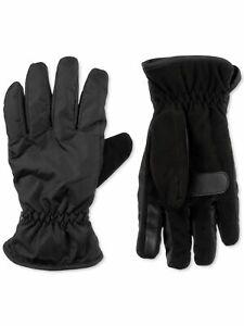 Isotoner Mens Black Polyester Slip On Sleek Heat Sports Touchscreen Compatible