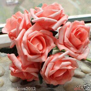 72pcs Coral Roses Fake Artificial Flowers For Wedding Bouquet Center Pieces Deco