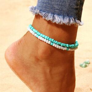 2PCS/Set Boho Beads Barefoot Sandal Beach Anklet Ankle Bracelet Foot JewelryYJCA