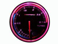 60mm Boost Gauge Turbo Meter 270 degree Sweep 256 RGB LED Colors Display 3 BAR