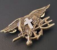 CHAPLAIN CROSS US Navy SEALS Special Warfare SEAL Team Trident Insignia Pin