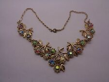 GOLD TONE FLORAL NECKLACE ARTICULATED AB FACETED STONE WEDDING PARTY PROM FEST
