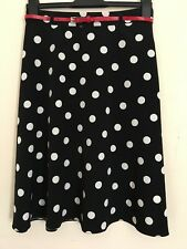 Tu Black & White Polka Dot Skirt UK Size 8 Smart Going Out Party Rock & Roll