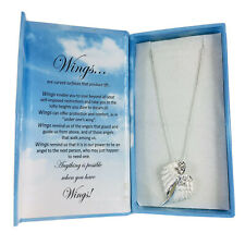 """Carol Young Silver Angel Wings Necklace Adjustable 16""""-20"""" Nickel Free Lead Free"""
