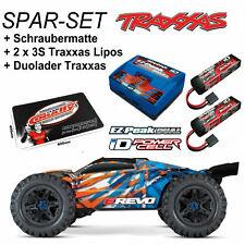 Traxxas E-Revo sans Brosse Monster Truck TRX86086-4 Orange Spar Jeu Batteries +
