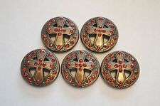 Lot of 5 Enmon Rhinestone Cross Concho Leather Western Round Belt Tack