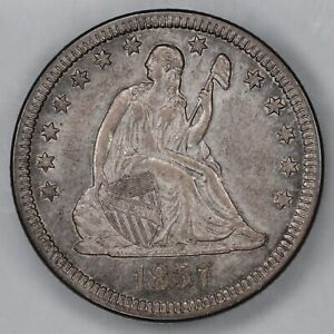 1857 SEATED LIBERTY QUARTER 25C AU ++ ABOUT UNCIRCULATED PLUS (9765)