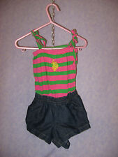 U.S. POLO ASSN. Girl's Toddler SUNSUIT STRIPES Large Pony CREST Snaps 24 Mos