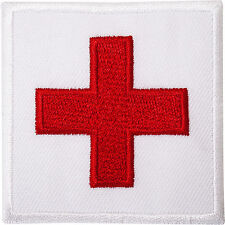 First Aid Cross Iron / Sew On Patch White Embroidered Badge for Doctors Coat Bag