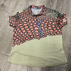 Jamie Sadock Golf Shirt 1/4 Button Short Sleeves Signature Athletic Wear Size M