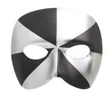 male masquerade mask venetian bi - colour black /silver