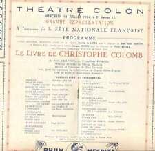Programme Colon Theater Opera M Renaud  M H Daste 1954