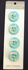 Vintage Novelty buttons -  4 Hand Painted Novelty Puppy Dog Buttons - England