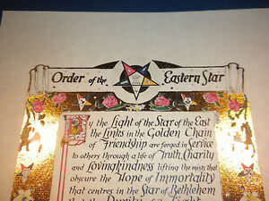 Antique GOLD Order of the Eastern Star poem print ring art OES Masonic print