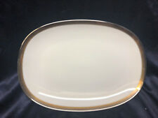 "NORITAKE COMPTON OVAL SERVING PLATTER 15 1/4"" PLATINUM GOLD BRONZE BANDS"