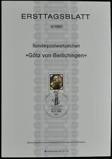West Germany 4/1980, Gotz Von Berlichingen Ersttagsblatt