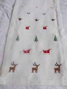 """PEGGY WILKINS EMBROIDERED """"SLEIGH RIDE"""" TABLE RUNNER CHRISTMAS 14"""" x 75"""""""