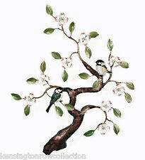 WALL ART - CHICKADEES IN FLOWERING DOGWOOD TREE METAL WALL SCULPTURE