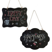 1PC Wooden Sign Chalkboard Wave Side Double-Sided Message Board Hanging String&y