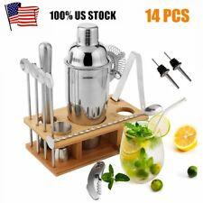 14 Pcs Cocktail Shaker Set Mixology Bartender Kit Stainless Steel Home Bar Tool