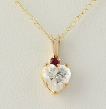 """NEW Cubic Zirconia Pendant W/ Necklace -10k Yellow Gold Chain Synthetic Ruby 18"""""""