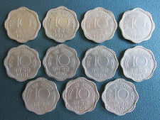10 PAISE COMPLETE SET OF COPPER NICKEL 11 COINS - 1957 TO 1967