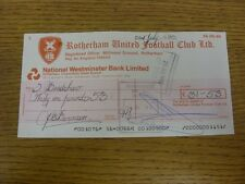 22/07/1983 Rotherham United: Official Club Cheque - payable to Sandra Bradshaw [