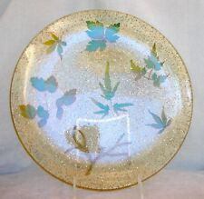 """Vintage 60s Mcm clear thick Lucite platter 10"""" w/ glitter, mica and leaves"""