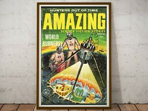 """1959 Science Fiction Pulp Magazine POSTER! (up to 24"""" x 36"""") - World Burners"""