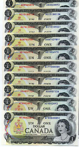 Bank of Canada 1973 $1 One Dollar Lot 10 Notes UNC NOT Consecutive