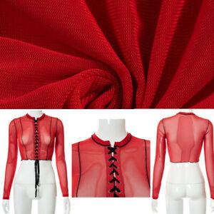 Sexy Womens See-through Mesh Crop Top Long Sleeve Sheer T-shirt Tops Clubwear