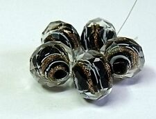 """HANDMADE LAMPWORK FACETED GLASS  BEADS, """"BLACK AND GOLD SAND """" ENCASED"""