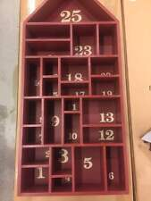 Pottery Barn Red Painted Wood House Christmas Advent Calendar New in Box