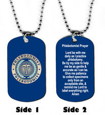 DOG TAG NECKLACE - Phlebotomist's Prayer Medical phlebotomy technician Jesus god