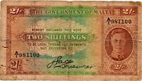 Malta 1942 Banknote 2 Shillings King George VI As Pictured Uniface Note